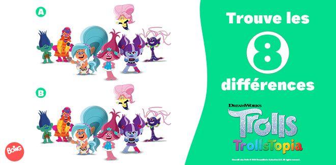 Jeu des 8 différences Trolls Trollstopia