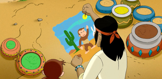 Fix the painting - Curious George